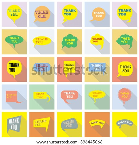 Thank you vector, appreciation and gratitude speech bubbles set. Large series of cute speech balloon with shadows and writing on it. Icons collection for retail and client oriented business.   - stock vector