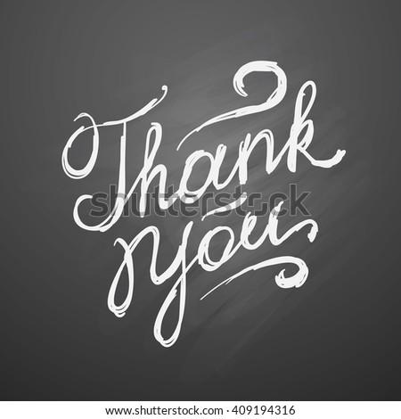 thank you, vector handwritten text on black chalkboard - stock vector