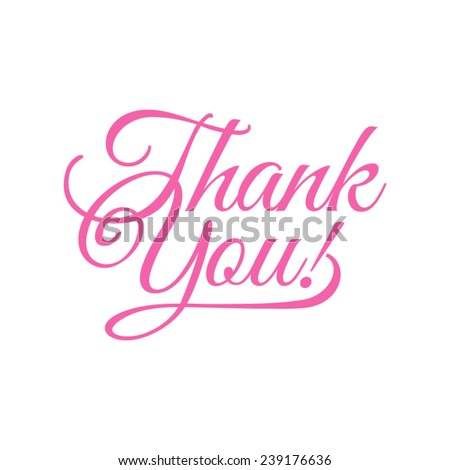 thank you/ vector illustration/ pink words on a white background - stock vector