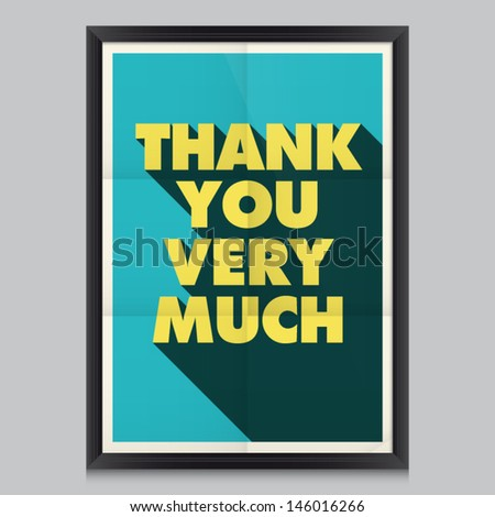 Thank you, vintage retro poster background with paper texture, frame and colors editable.   - stock vector