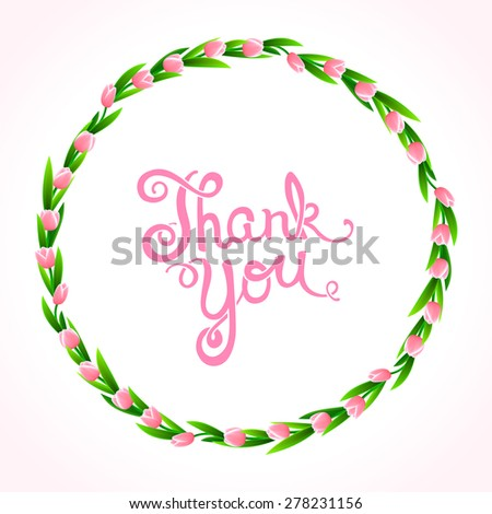 Thank you with wreath of flowers, vector illustration - stock vector