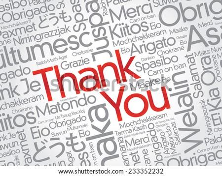 Thank You Word Cloud in vector format - stock vector