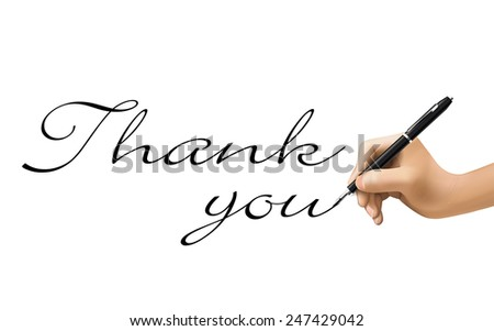 thank you words written by 3d hand over white  - stock vector