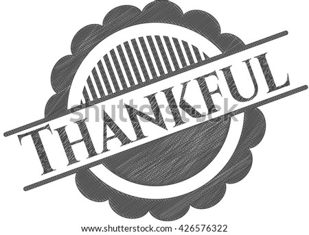 Thankful pencil strokes emblem