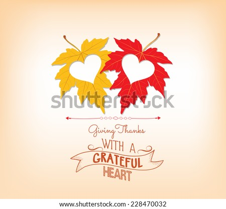 thankgiving with hearts greeting card - stock vector