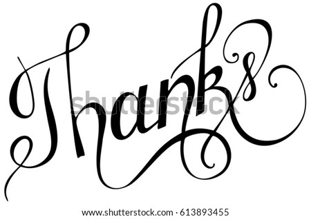 Line Art Letters : Thanks calligraphy brush painted letters vector stock hd