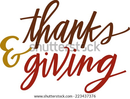 thanks & giving - stock vector
