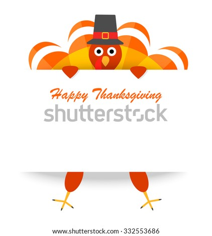 Thanksgiving background with turkey for Happy Thanksgiving celebration, vector illustration. Can be used for cards, flyers, posters, invitations, web banners - stock vector