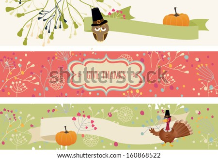 Thanksgiving banners. Vector illustration - stock vector