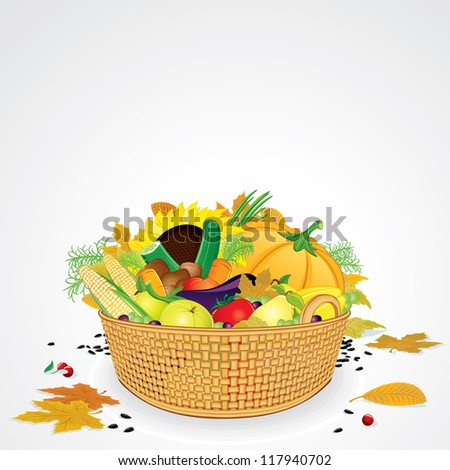 Thanksgiving Basket with Vegetables, Fruits and Leaves. Isolated on White Background - stock vector