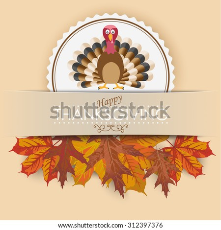 Thanksgiving cover design with turkey, banner and foliage. Eps 10 vector file. - stock vector