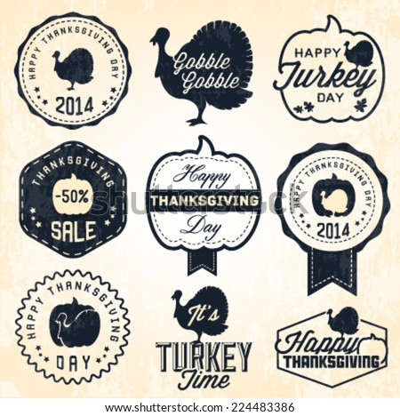 Thanksgiving Day Badges and Labels in Vintage Style - stock vector