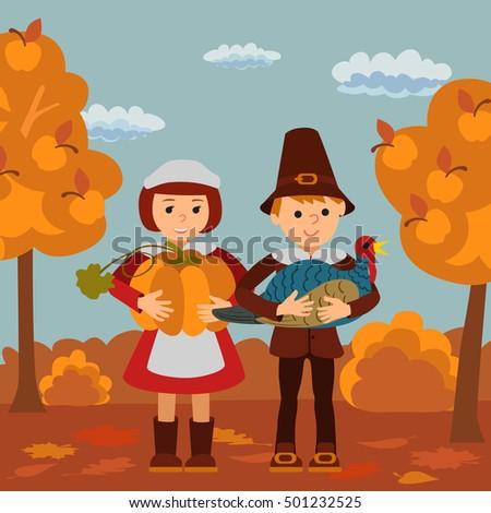 Thanksgiving Day Children Pumpkin Turkey Vector Stock Vector ...