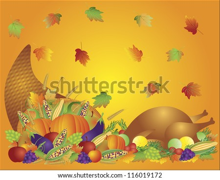 Thanksgiving Day Fall Harvest Cornucopia with Turkey Dinner Feast Pumpkins Fruits and Vegetables Vector illustration - stock vector