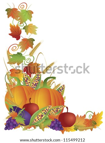 Thanksgiving Day Fall Harvest Pumpkin Eggplant Grapes Corns Apples with Leaves and Twine Border Vector Illustration - stock vector