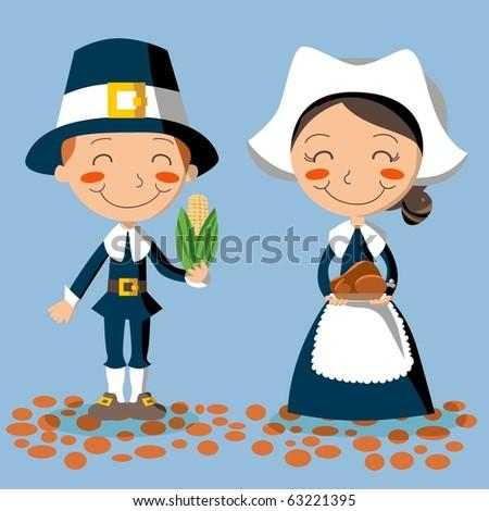 Thanksgiving Day Pilgrim Couple - stock vector