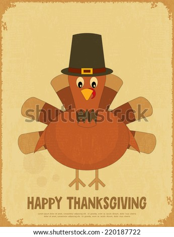Thanksgiving Day. Retro Poster with Cartoon Turkey. Vector Illustration. - stock vector