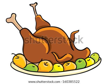Thanksgiving day, roasted turkey - stock vector