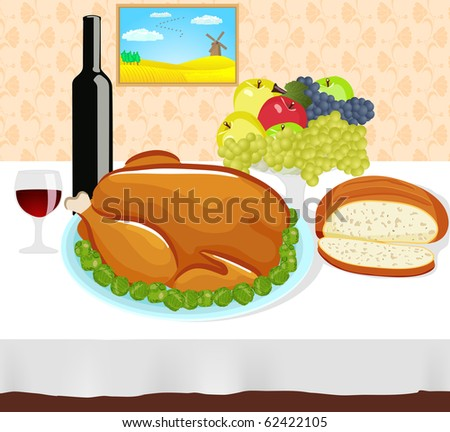 Thanksgiving dinner filled with roasted turkey, wine,  bread and fruit - stock vector