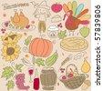 thanksgiving doodle set - stock vector