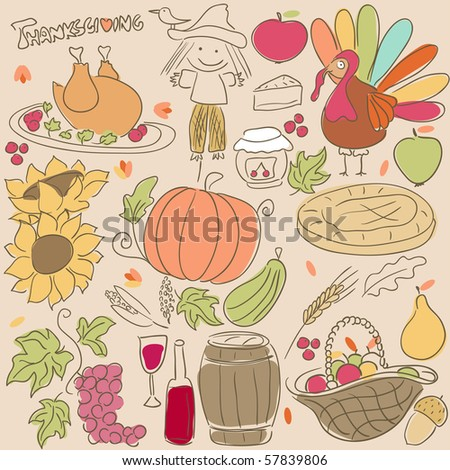 thanksgiving doodle set - stock vector
