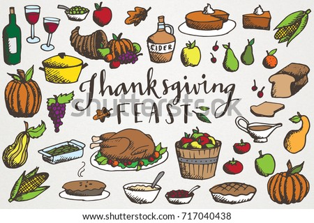 thanksgiving feast clip art hand drawn stock vector 717040438 rh shutterstock com thanksgiving feast clipart black and white thanksgiving feast clipart black and white