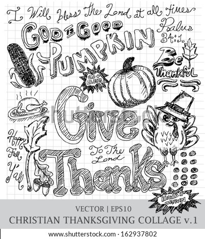Thanksgiving give thanks Christian hand drawn vector for church | EPS10 - stock vector