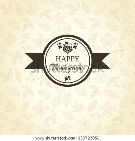 Thanksgiving greeting card on autumn pattern - stock vector