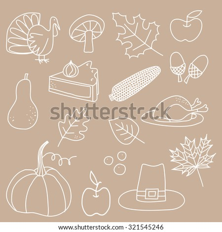 Thanksgiving Hand Drawn Doodle Icons