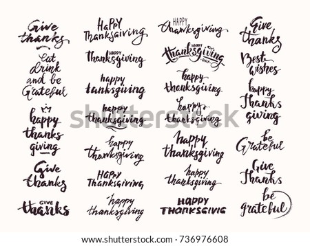 Thanksgiving Hand Drawn Lettering Made Ink Stock Vector 736976608 ...
