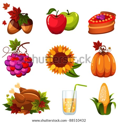 Thanksgiving icon set - stock vector