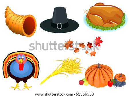 thanksgiving icons - stock vector