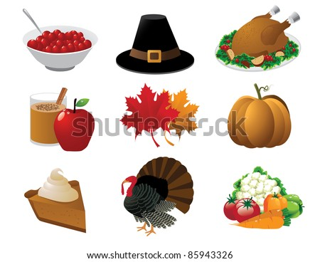 Thanksgiving icons A set of icons for Thanksgiving. Grouped for easy editing. EPS 8 with no open shapes, strokes or transparencies. - stock vector