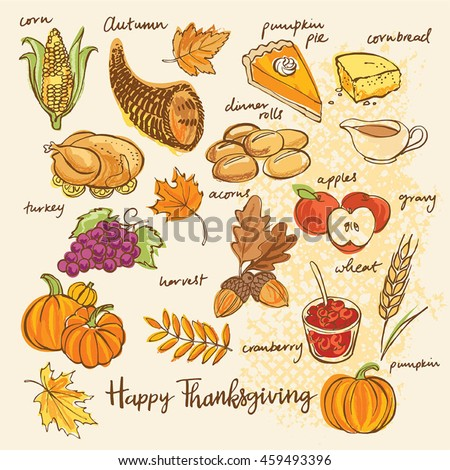 Thanksgiving icons hand drawn vector illustration. Autumn collection