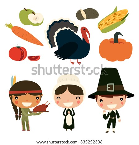 thanksgiving kids. cute vector characters - stock vector