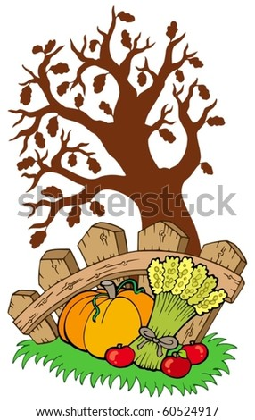 Thanksgiving motive with tree - vector illustration.