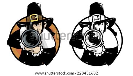 Thanksgiving pilgrim hunter - Vector clip art illustration on white - stock vector