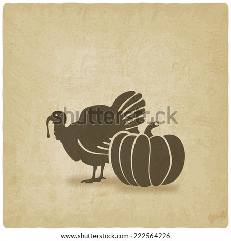 Thanksgiving symbols. turkey and pumpkin - vector illustration. eps 10 - stock vector