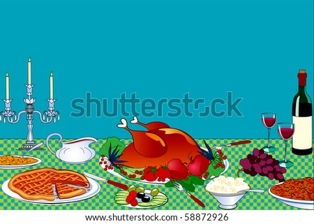 Thanksgiving table with place for your text - stock vector