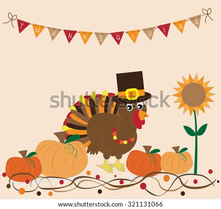 Thanksgiving Turkey and Pumpkins - stock vector