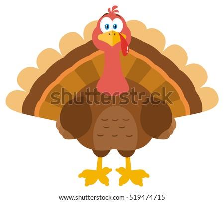 Thanksgiving Turkey Bird Cartoon Mascot Character Stock Vector