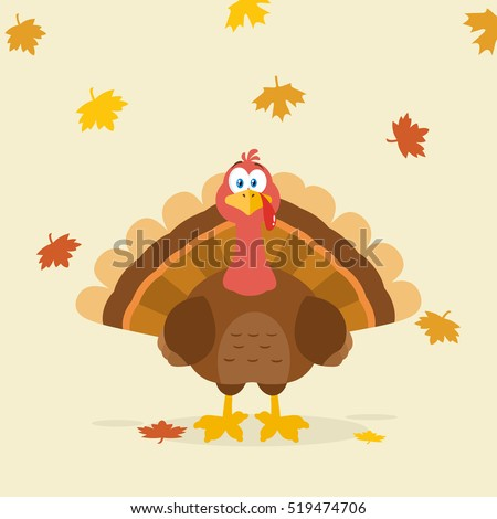 Thanksgiving Turkey Bird Cartoon Mascot Character. Vector Illustration Flat Design Over Background With Autumn Leaves