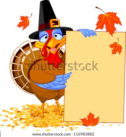 Thanksgiving Turkey holding Holiday Note - stock vector