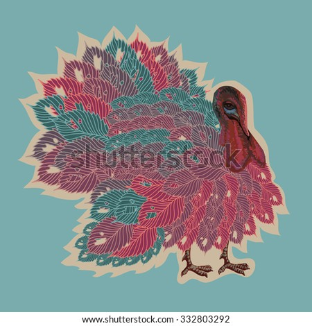 Thanksgiving turkey in cartoon comic style  for Happy Thanksgiving celebration - stock vector