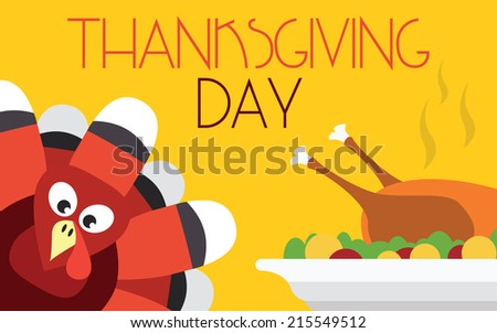 Thanksgiving turkey with dinner, vector card - stock vector