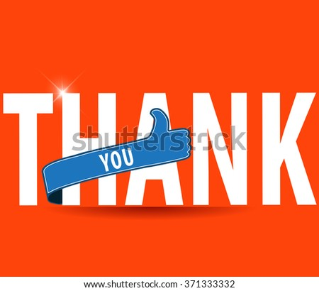 thankyou, flat typography with thumbs up sign - vector eps 10 - stock vector