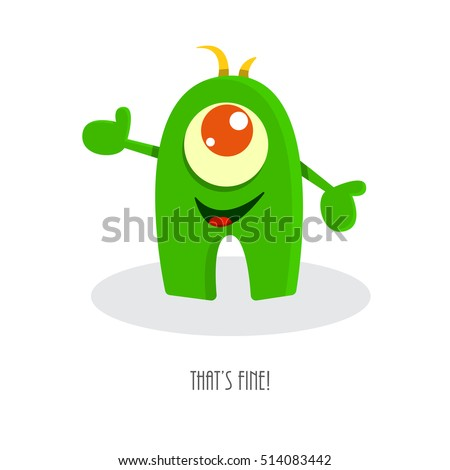 Thats Fine Inspirational Quote Funny Monster Stock Vector 514083442