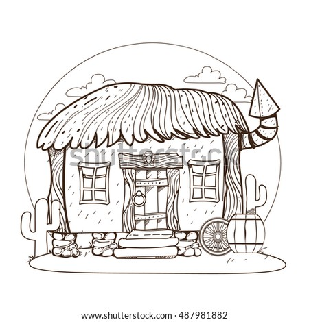Thatched hut. Design gaming applications, game background, theatrical scenery.