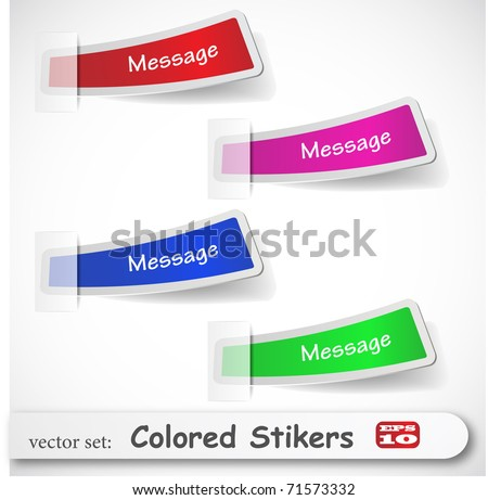 the abstract colored sticker set - stock vector