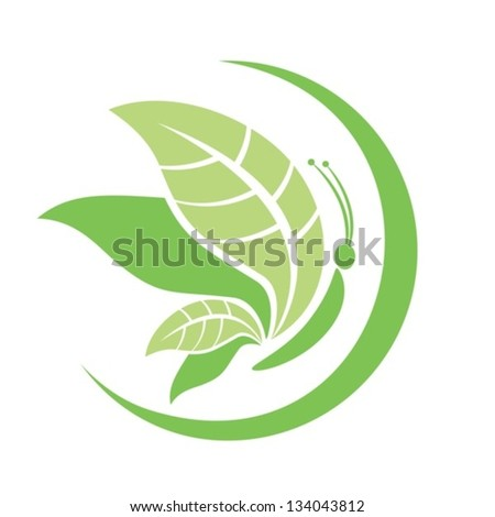 The abstract image of a butterfly, with leaves instead of wings.Vector. EPS-10 (non transparent elements,non gradient). - stock vector